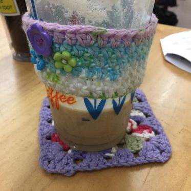 Student was teasing me about my crocheted coffee cup sleeve and coaster. But my desk doesn't have wet rings all over it and my hands aren't cold. #coffee #dutchbros #crochet #handmade.jpg