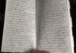 Picture of my terrible handwriting in previously pictured notebook.
